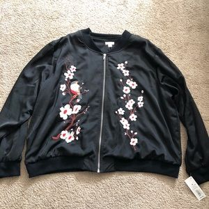 Bird and Cherry Blossoms Bomber Jacket